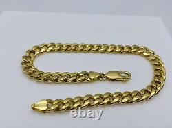 Genuine 9ct Yellow Gold 6mm Cuban Mens Bracelet 8.5 inch New