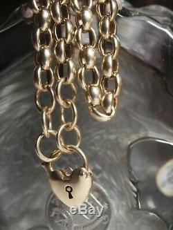 Genuine / 9ct Yellow Gold Belchor Link Bracelet With Heart Locket Heavy