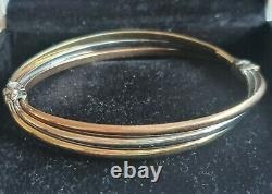 Genuine 9k Gold Trinity 3 Tone Yellow White & Rose Gold Bangle Bracelet 7 Grams