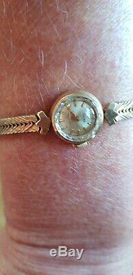 Genuine Rolex vintage ladies Precision 9ct gold bracelet watch 1970s