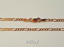 Genuine Solid 9ct 9k Rose Pink Gold Bevelled Figaro 3.1 Diamond Cut Bracelet