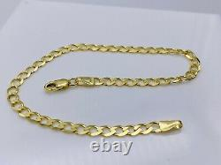 Genuine Solid 9ct Yellow Gold 4mm Curb link Bracelet New 7.5