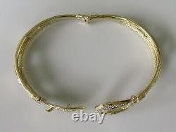 Gold Diamond Bracelet 9ct Yellow Gold Diamond Buckle Hinged Bangle Bracelet