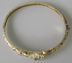 Gold Diamond Bracelet 9ct Yellow Gold Sapphire Diamond Panther Hinged Bracelet