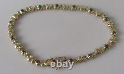 Gold Diamond Bracelet Vintage 9ct Gold Multi Diamond Sapphire Link Bracelet
