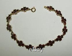 Gorgeous, Antique, 9 Ct Gold Bracelet With 28.0 Carat Rose Cut Garnet Gems