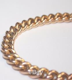 Gorgeous Antique 9ct Rose Gold Curb Link Charm Bracelet