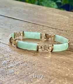 Gorgeous Oriental Style 9ct Solid Gold Green Jade Panel Bracelet, 71/2
