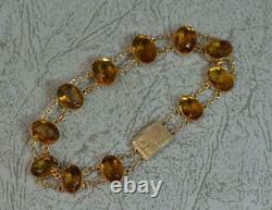 Gorgeous Victorian 9ct Rose Gold and Orange Citrine Bracelet
