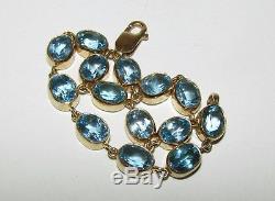 Gorgeous, Vintage Art Deco Style, 9 Ct Gold Bracelet With Fine Aquamarine Gems