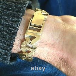 HEAVY 9ct GOLD SOLID ANCHOR CURB MEN'S BRACELET Patterned & Plain Links 50.89g