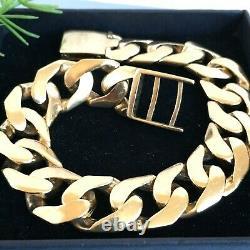 HEAVY 9ct GOLD SOLID CURB MEN'S BRACELET 2.5 toz (78.4g) 9 ins