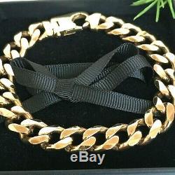 HEAVY 9ct GOLD SOLID CURB MEN'S BRACELET 49.94g 8 5/8ins