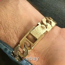 HEAVY 9ct GOLD SOLID CURB MEN'S BRACELET Patterned & Plain Links 67.15g 9