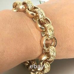 HEAVY 9ct SOLID GOLD PATTERNED BELCHER MENS BRACELET 74.3g(2.3toz) Wrist 8 1/2