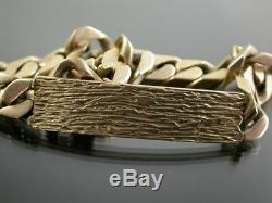 HEAVY VINTAGE 9ct GOLD RETRO FLAT CURB LINK IDENTITY BRACELET C. 1970