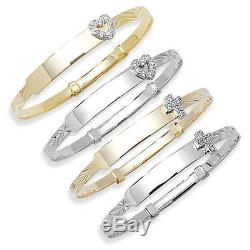 Hallmarked Solid 9ct Yellow or White Gold Expandable Kids Christening Bangle