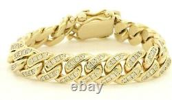Heavy 10k yellow gold 9ct diamond cluster thick cuban link chain bracelet