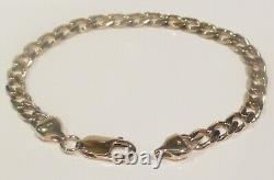 Heavy 13.95g Solid 9ct Yellow Gold Mens/ladies Diamond Cut Curb Link Bracelet