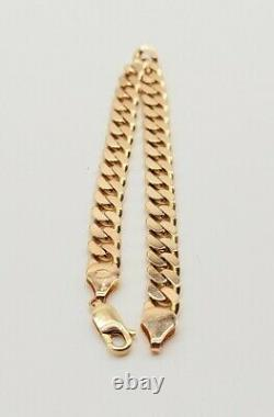 Heavy 9ct Solid Gold Flat Link Curb Bracelet 22.5 grams