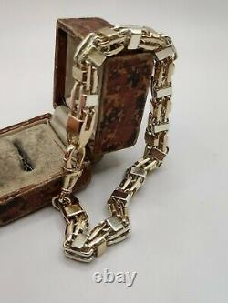 Heavy 9ct Solid Gold Two Tone Cage Chain Bracelet