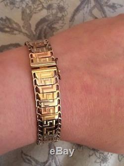 Heavy 9ct Three Colour Gold Tricolour Gold Bracelet