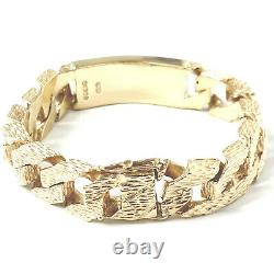 Heavy Gold Identity Bracelet Men's Solid 9ct Yellow Barked Square Link 125g 8.5
