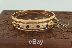 Heavy Quality 9ct Gold Edwardian Sapphire Bangle Chester 1909. BARGAIN. NICE1
