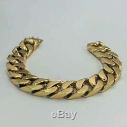 Heavy Solid 375 9ct Yellow Gold Flat Curb Link 16mm Wide 9 Bracelet 145.5g L92