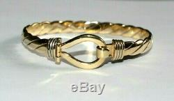 Heavy Solid 9ct Gold Gucci Style Torque Bangle. Loop & Hook Front. 22 Grams
