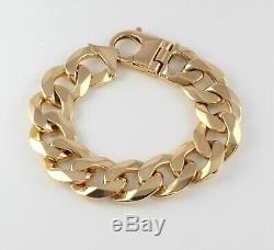 Heavy Vintage Men's Gents Solid 9Ct Gold Flat Curb Link Chain Bracelet, 121.2g