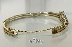 Heavy vintage 9ct solid gold & Almandine Garnet set bangle 28.80g