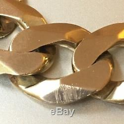 IMPRESSIVE 9ct SOLID YELLOW GOLD CURB WIDE CHAIN BRACELET 8 7/8 61.66g