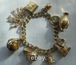 LADIES 9ct GOLD CHARM BRACELET PRE-OWNED 1950'S 10 CHARMS + PADLOCK