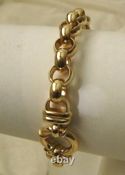 LARGE GENUINE 9K 9ct SOLID Gold PLAIN BELCHER Bracelet with BOLT RING CLASP