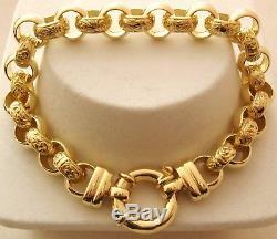 LARGE GENUINE 9K 9ct SOLID Gold PLAIN and PATTERN BELCHER Bracelet