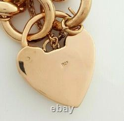 Ladies 9ct (375, 9K) Rose Gold Large Curb Chain Bracelet with Heart Padlock