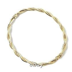 Ladies 9ct Gold Bangle Twist design Hinged Safety Catch Yellow Gold 5.2g 6.5inch