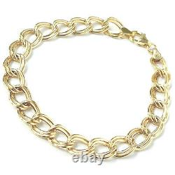 Ladies 9ct Gold Bracelet Yellow Gold Open Link 7.5mm Wide Fancy 3.3g 7.5 Inches