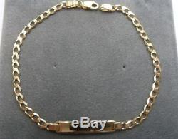 Ladies 9ct Solid Gold Curb ID Bracelet 3 grams 7 1/2