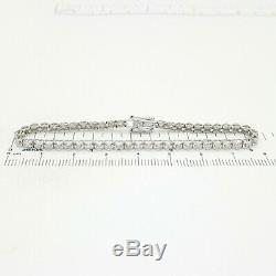 Ladies Bracelet 9ct (375, 9K) White Gold (1.00ct) Heart Diamond Tennis Bracelet