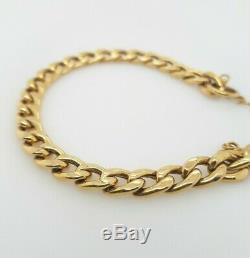 Ladies Curb Bracelet 9ct Yellow Gold Hollow Links Heart Padlock RRP $1190