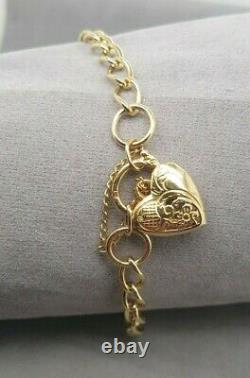 Ladies Curb Bracelet 9ct Yellow Gold with Heart Padlock Preloved RRP $890