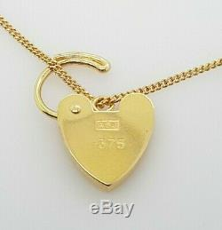 Ladies Gold Bracelet 9ct Yellow Gold Curb Links Heart Padlock Preloved