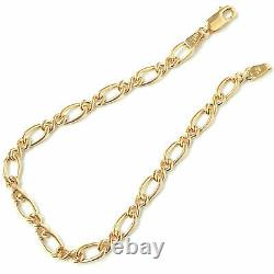 Ladies Gold Bracelet 9ct Yellow Gold Fancy Link 5mm Wide Fancy 3.4g 8 Inches