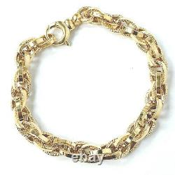 Ladies Gold Bracelet 9ct Yellow Gold Fancy Link 7.2mm Wide Fancy 7.5g 7.5 Inches