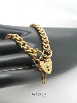 Ladies Gold Bracelet 9ct Yellow Gold Hollow curb padlock Preloved RRP $1290