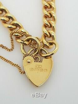 Ladies Gold Bracelet 9ct Yellow Gold Hollow curb padlock Preloved RRP $1290