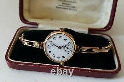 Ladies Vintage. 375 9ct Gold Rolex Wrist Watch 9ct Gold Bracelet 16.3g + Box
