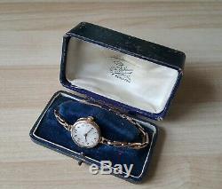 Ladies Vintage. 375 9ct Gold Rolex Wrist Watch & Box 9ct Bracelet Total 17.2g
